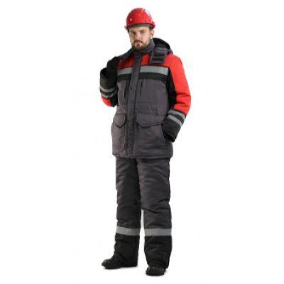 Костюм мужской Зимник зимний т.серый с красным и черным