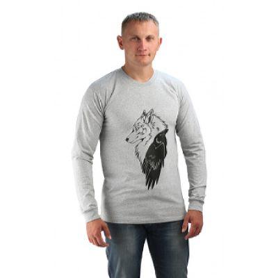 Футболка с длинным рукавом, цв.серый меланж, принт Волк/Ворон