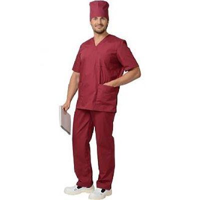Костюм хирурга универсальный: блуза, брюки бордовый