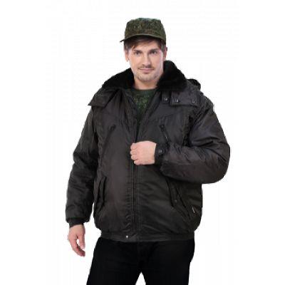 Куртка мужская на поясе Охрана зимняя черная (с капюшоном)