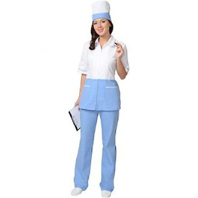Костюм СИРИУС-СТЕФАНИ женский: куртка, брюки, колпак белый с голубым (СТ)