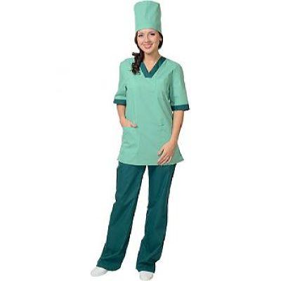 Костюм СИРИУС-СОФИЯ женский: куртка, брюки, колпак светлая мята с тёмно-зелёным (СТ)