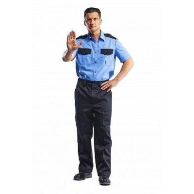 Рубашка Охранник голубой/черный (короткий рукав) РУБ500