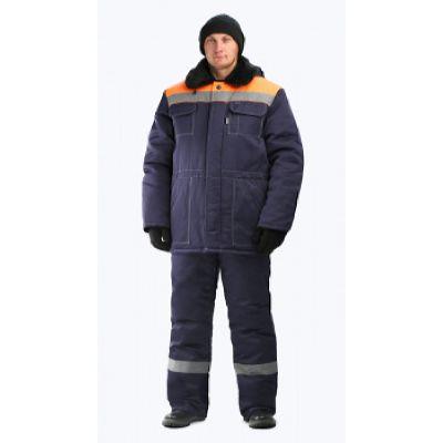 Предзаказ-Костюм мужской Строитель-Легион СОП 50 мм зимний т-синий с оранжевым
