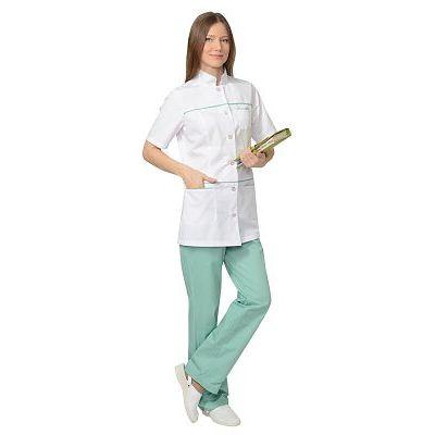 Костюм СИРИУС-ЛАУРА женский: блуза, брюки, (белый с мятным)