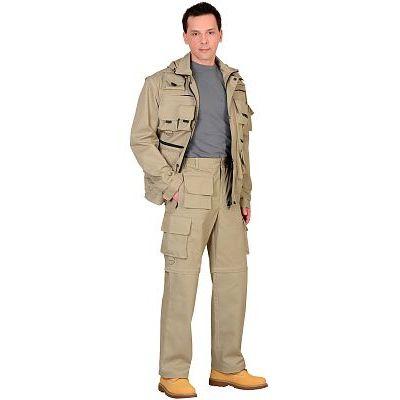 Костюм СИРИУС-Тигр Песочный: куртка, брюки, жилет, шорты, 20 карманов!